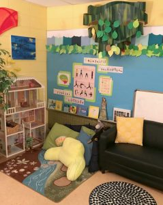 Inside author's office showing comfy seating and natural colors